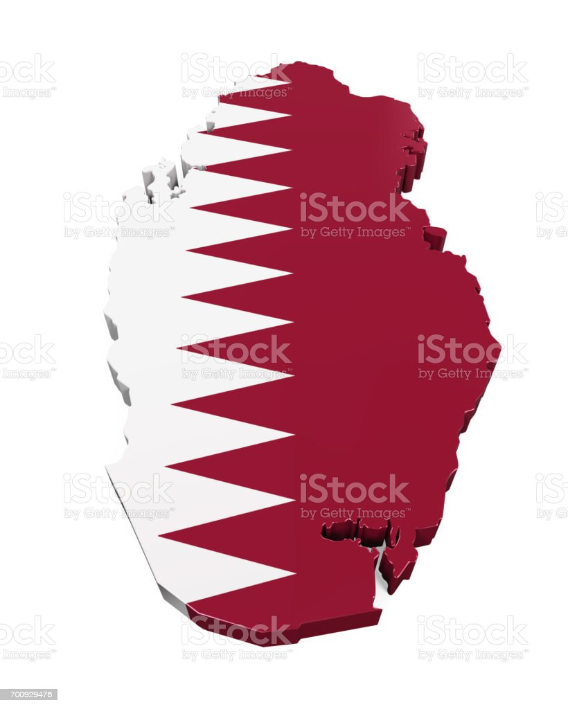 Map of Qatar Isolated stock photo