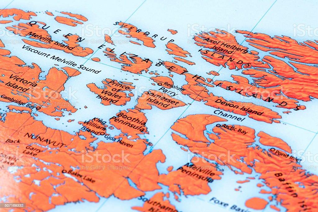 Map of Queen Elizabeth Islands, Canada stock photo
