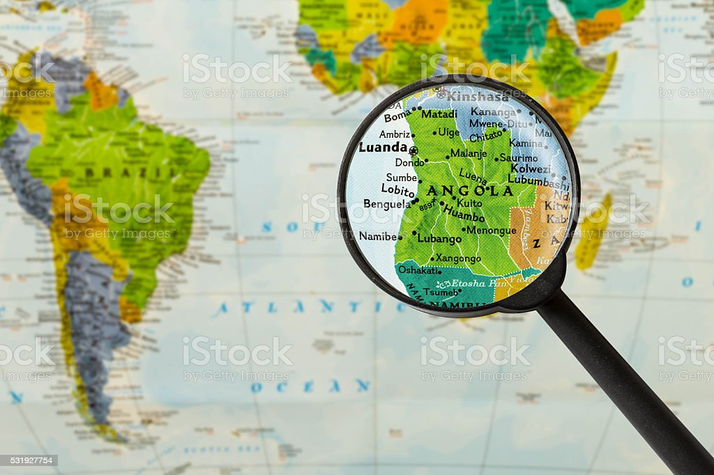 Map of Republic of Angola stock photo