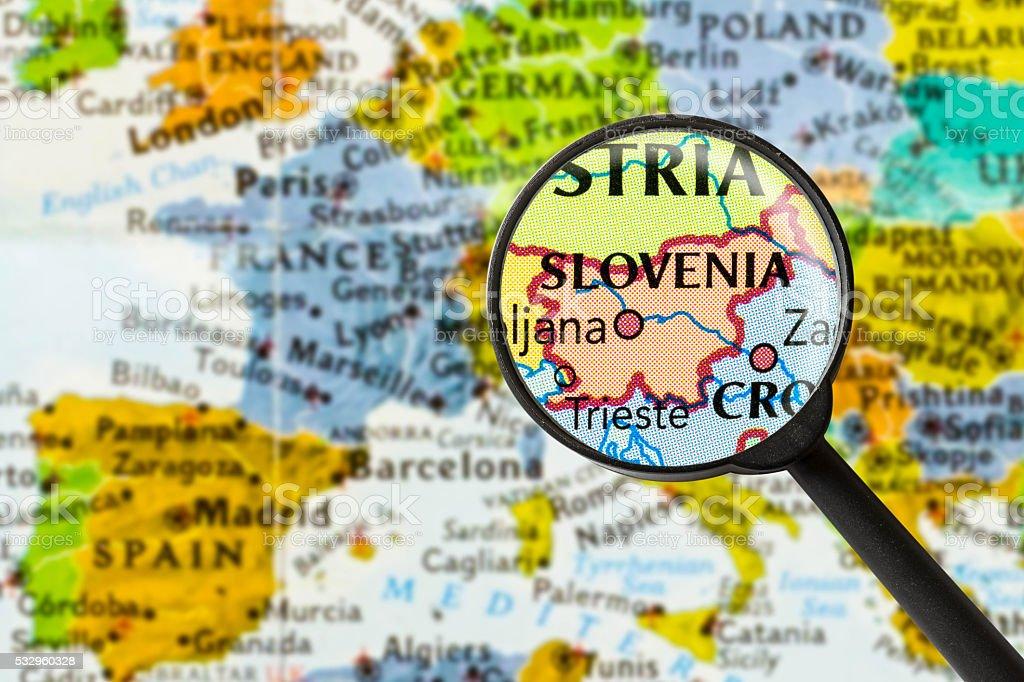 Map of Republic of Slovenia stock photo