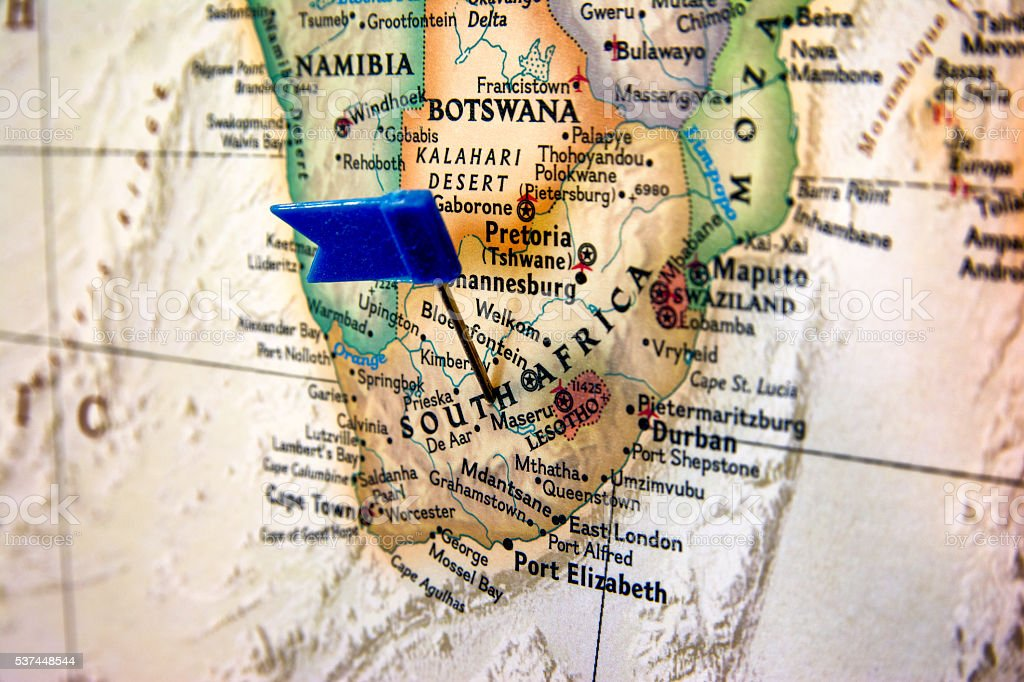Map of Republic of South Africa with pin stock photo