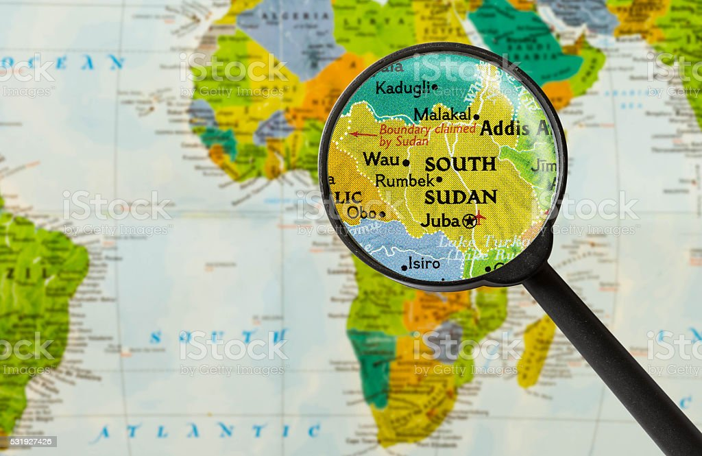 Map of Republic of South Sudan stock photo