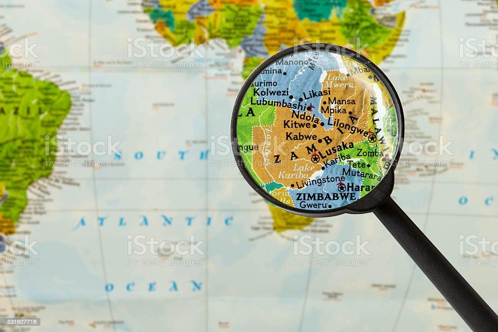 Map of Republic of Zambia stock photo