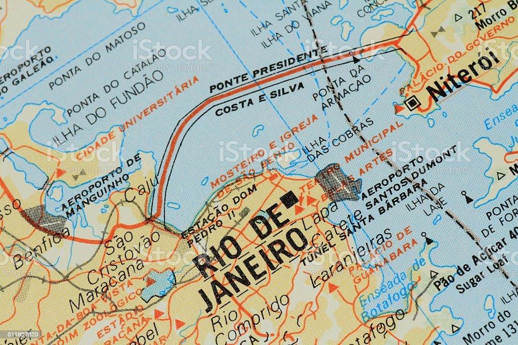 Map of Rio de Janeiro stock photo