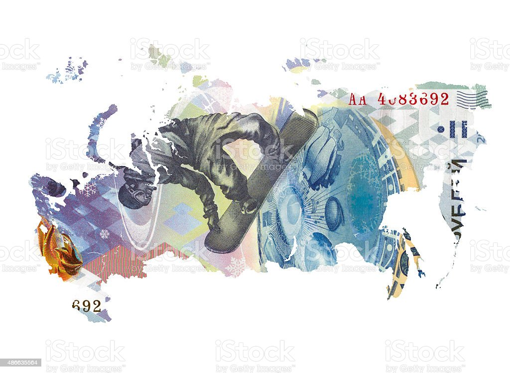 Map of Russia made of ruble banknote stock photo