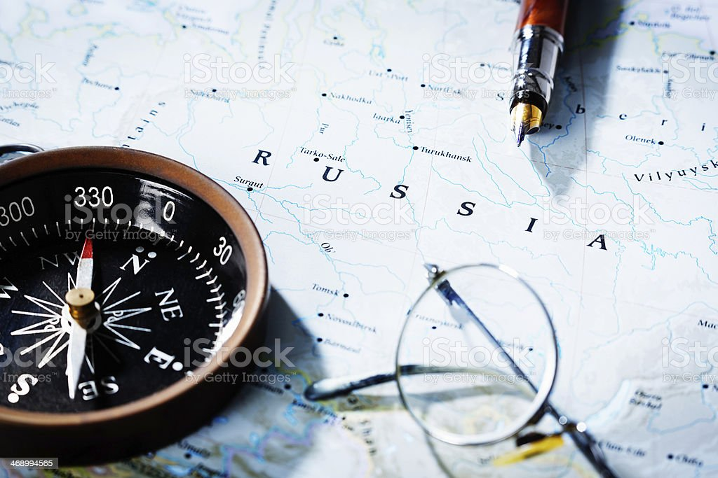 Map Of Russia With Compass Spectacles And Pen Travel Planning - Us travel planning map
