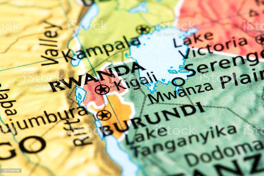Map of Rwanda and Burundi stock photo