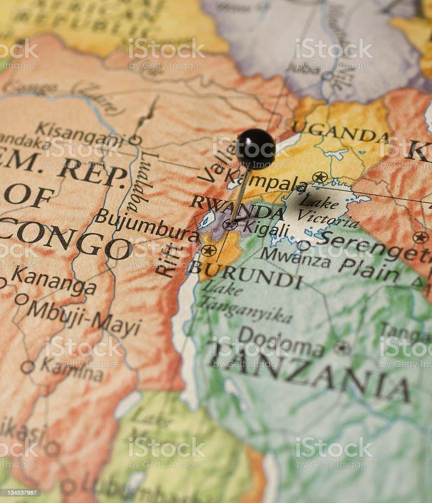 Map Of Rwanda,Tanzania,and Congo royalty-free stock photo