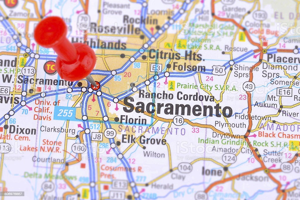 Map of Sacramento stock photo