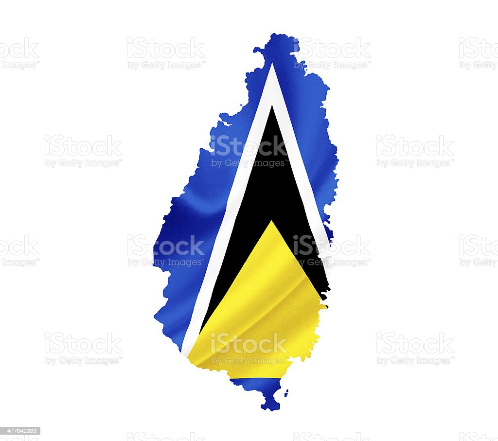 Map of Saint Lucia with waving flag isolated on white royalty-free stock photo
