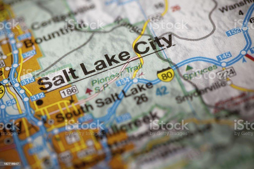 Map of Salt Lake City stock photo