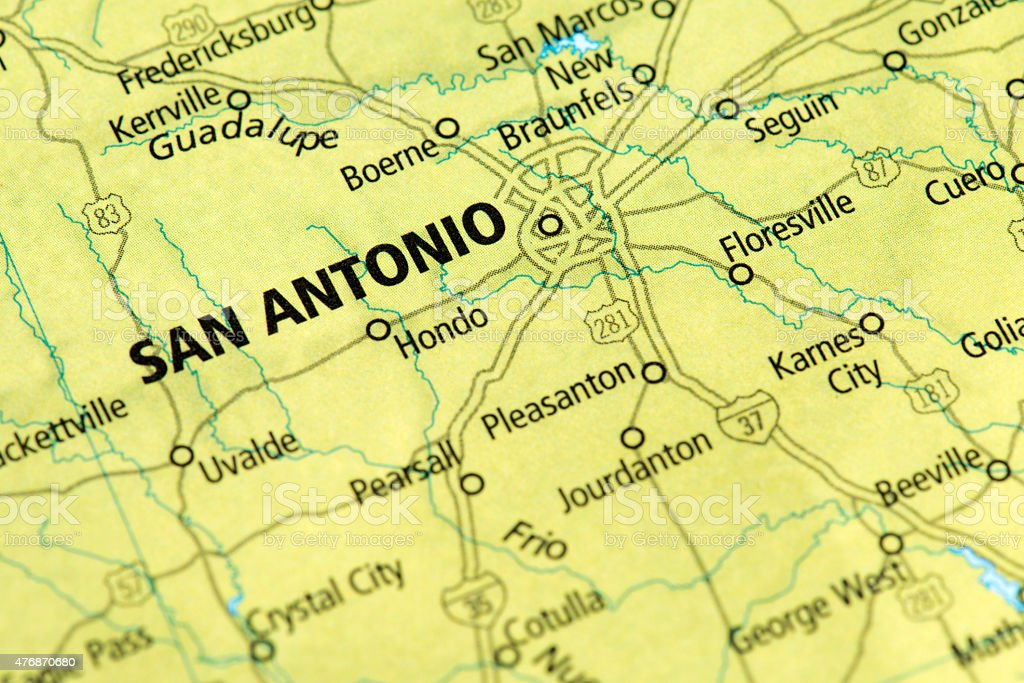 Map of San Antonio, Texas State in USA stock photo