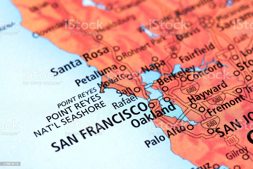 Map of San Francisco in California State, USA stock photo