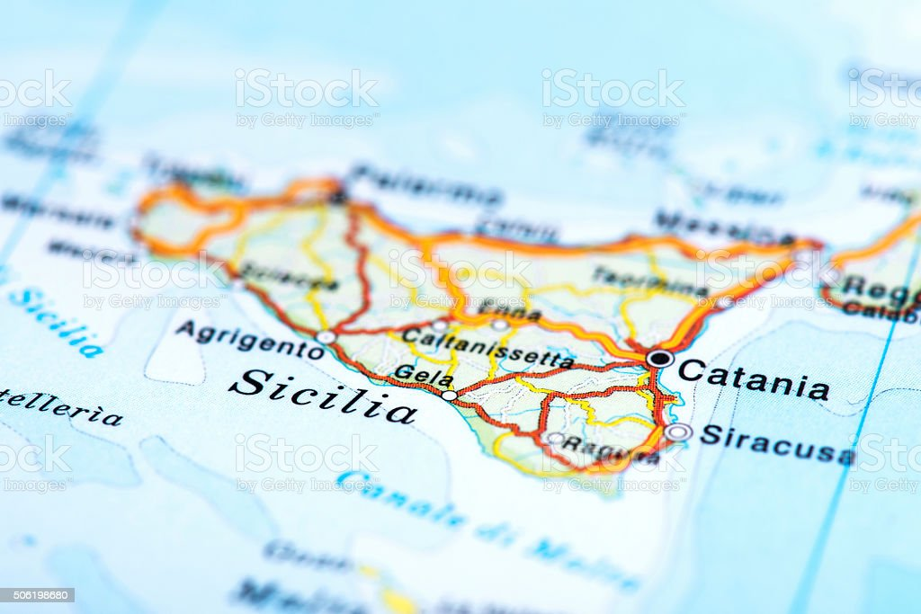 Map of Sicilia, Italy stock photo