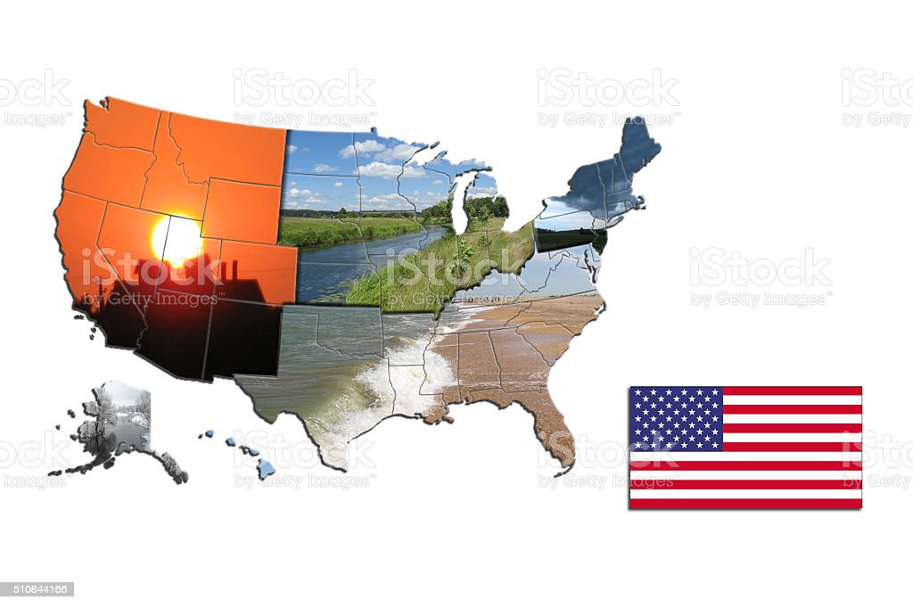 map of sides of USA stock photo