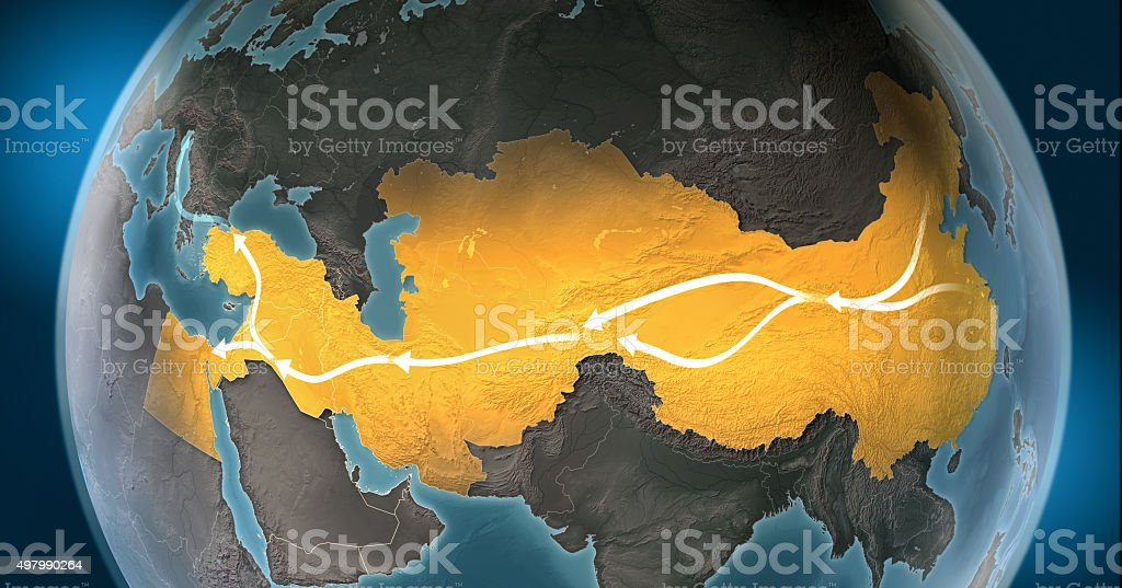 Map of Silk Road: routes connecting Asia to Europe stock photo