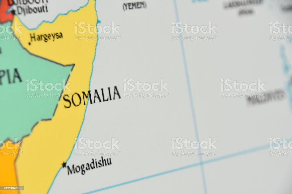 Map of Somalia stock photo