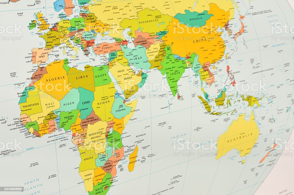 Map of South Africa, Europe, Asia stock photo