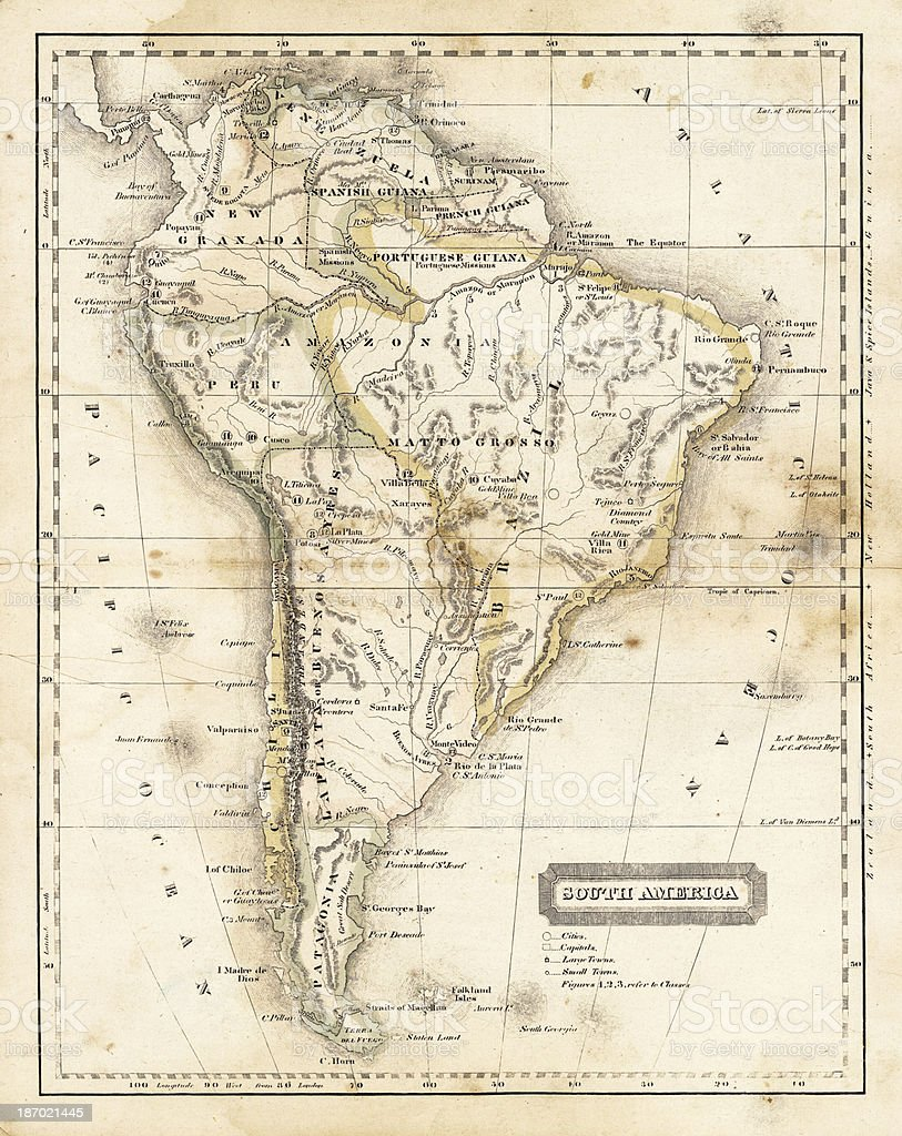 map of south america 1824 stock photo