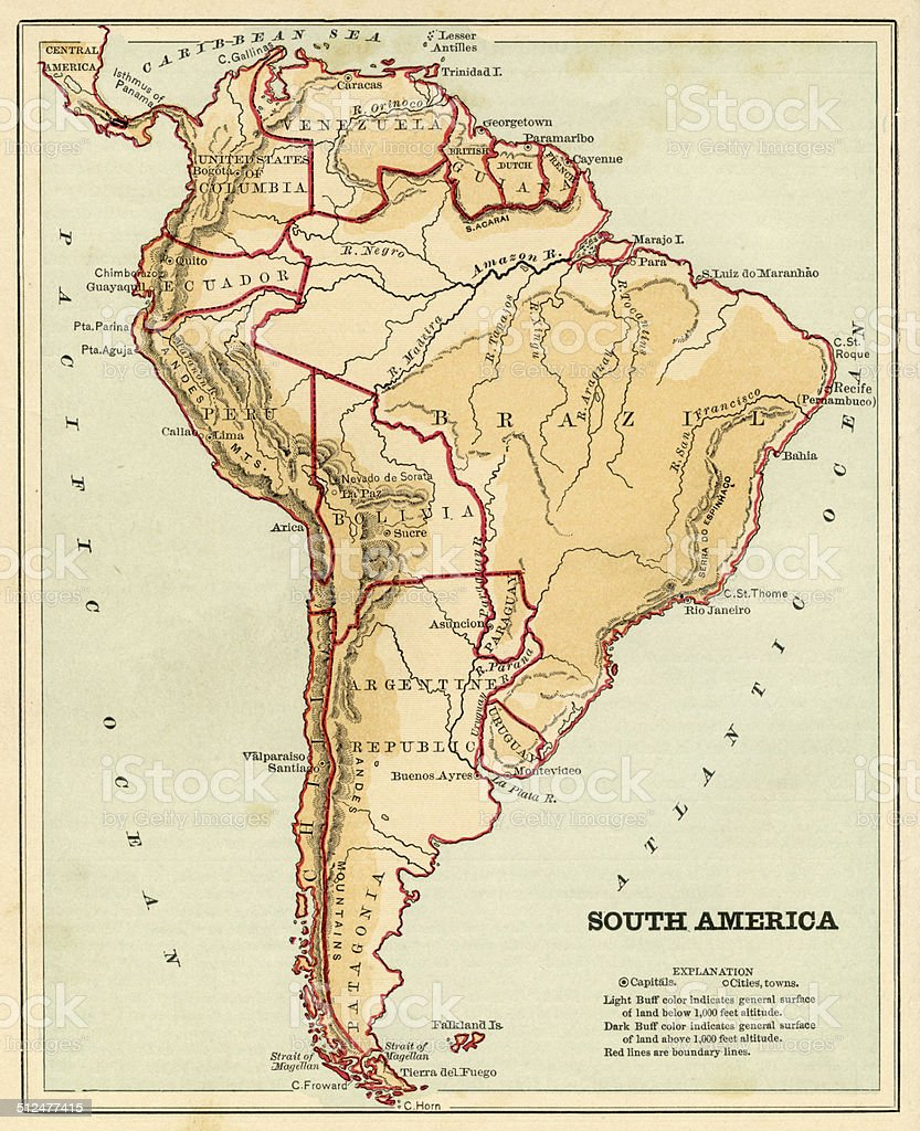 Map of South America 1868 stock photo