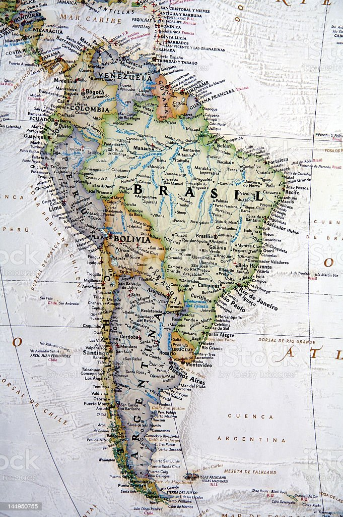 Map of South America countries stock photo