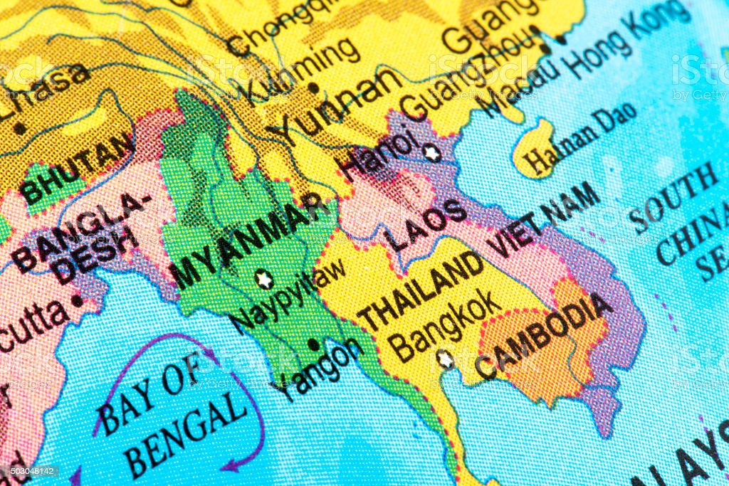 Map of South Asia stock photo