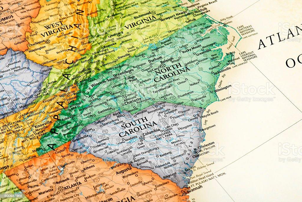 Map of South Carolina and North Carolina States stock photo