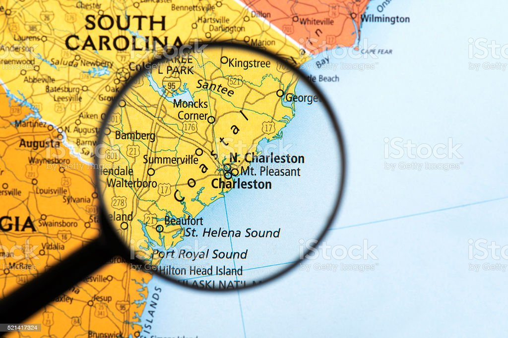 Map of South Carolina stock photo