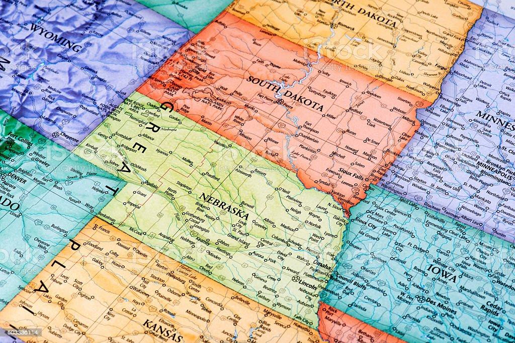 Map of South Dakota and Nebraska States stock photo