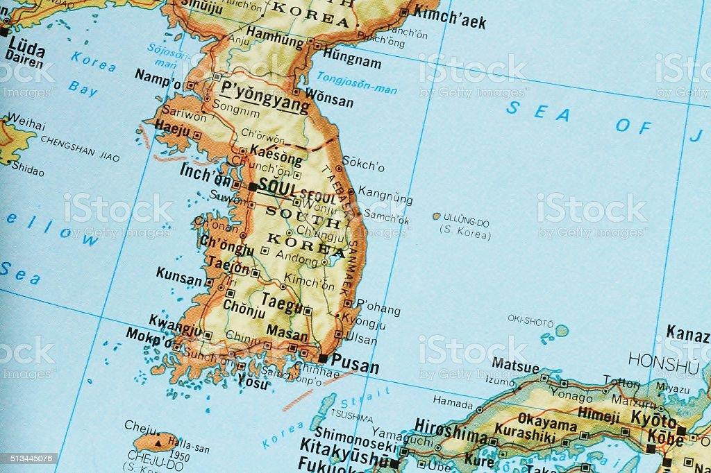 Map of South Korea stock photo