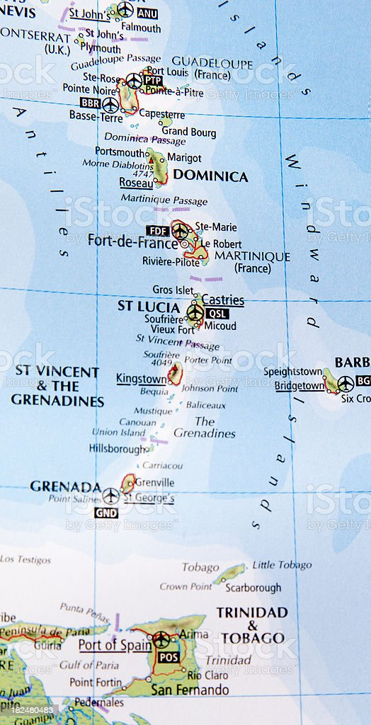 map of st. lucia area stock photo