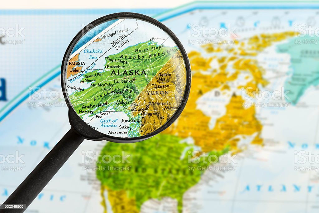 map of State of Alaska stock photo