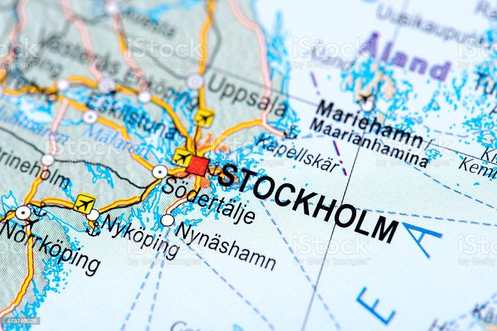 Map of Stockholm, Swedish stock photo
