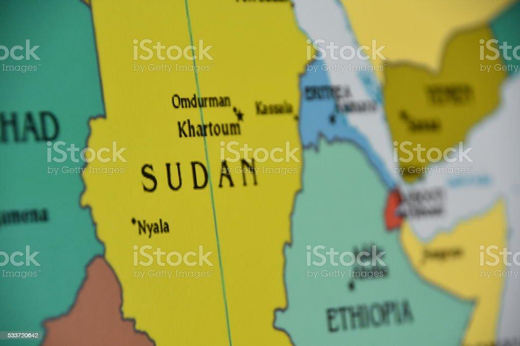 Map of Sudan stock photo
