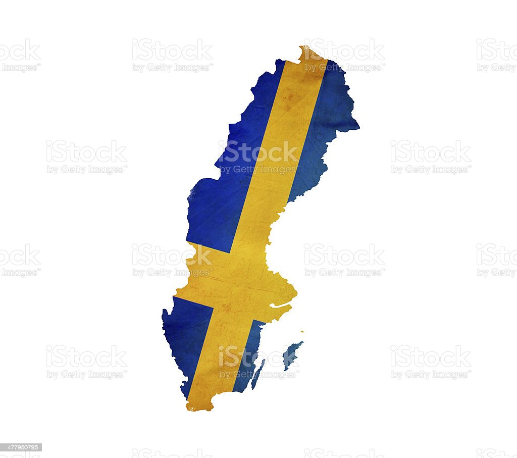 Map of Sweden isolated stock photo