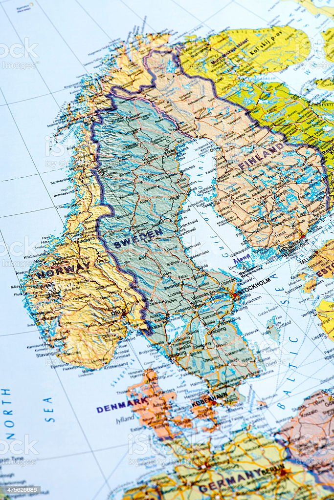 Map of Sweden, Norway, Finland stock photo