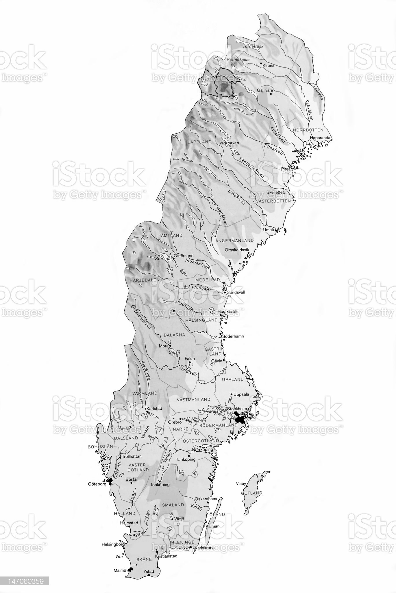 Map Of Sweden royalty-free stock photo