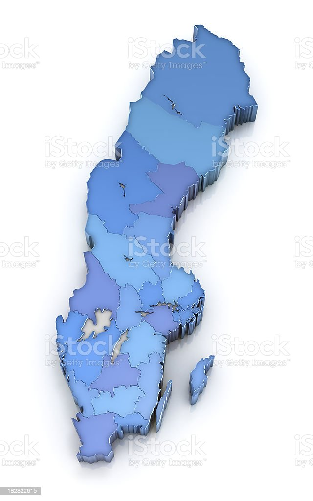 Map of Sweden with counties stock photo