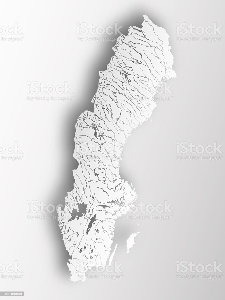 Map of Sweden with lakes and rivers. stock photo