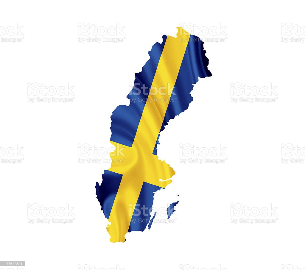 Map of Sweden with waving flag isolated on white stock photo