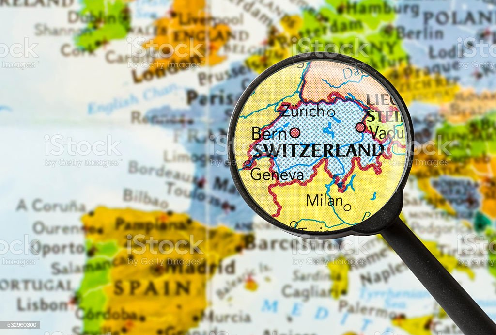 Map of Swiss Confederation stock photo