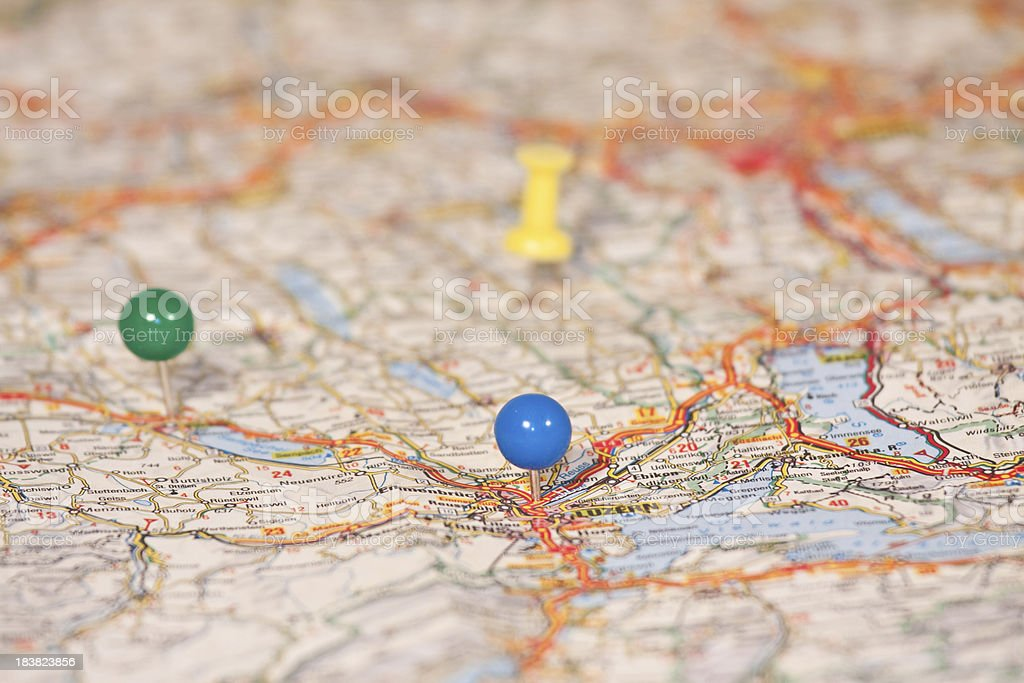 Map of Swisse with multicolored pins stock photo