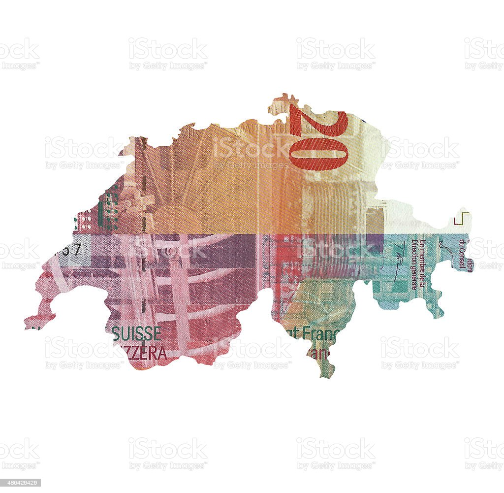 Map of Switzerland made of 20 franc banknote stock photo