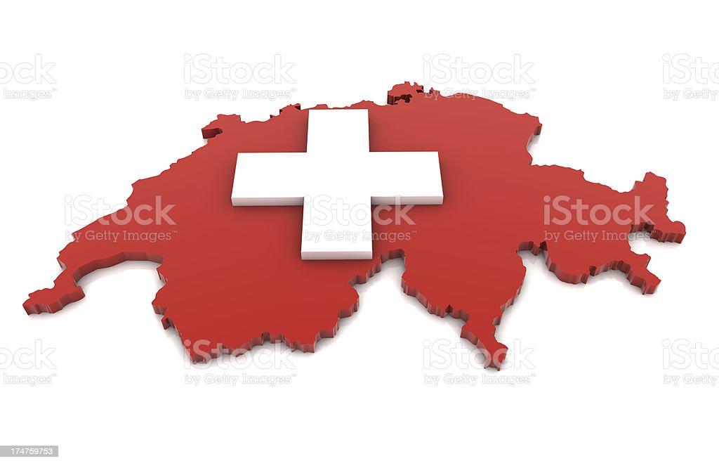 Map of Switzerland royalty-free stock photo