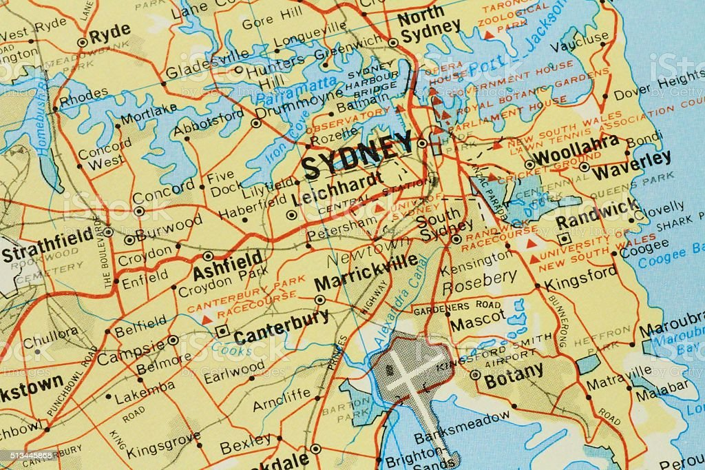 Map of Sydney and surrounding suburbs stock photo