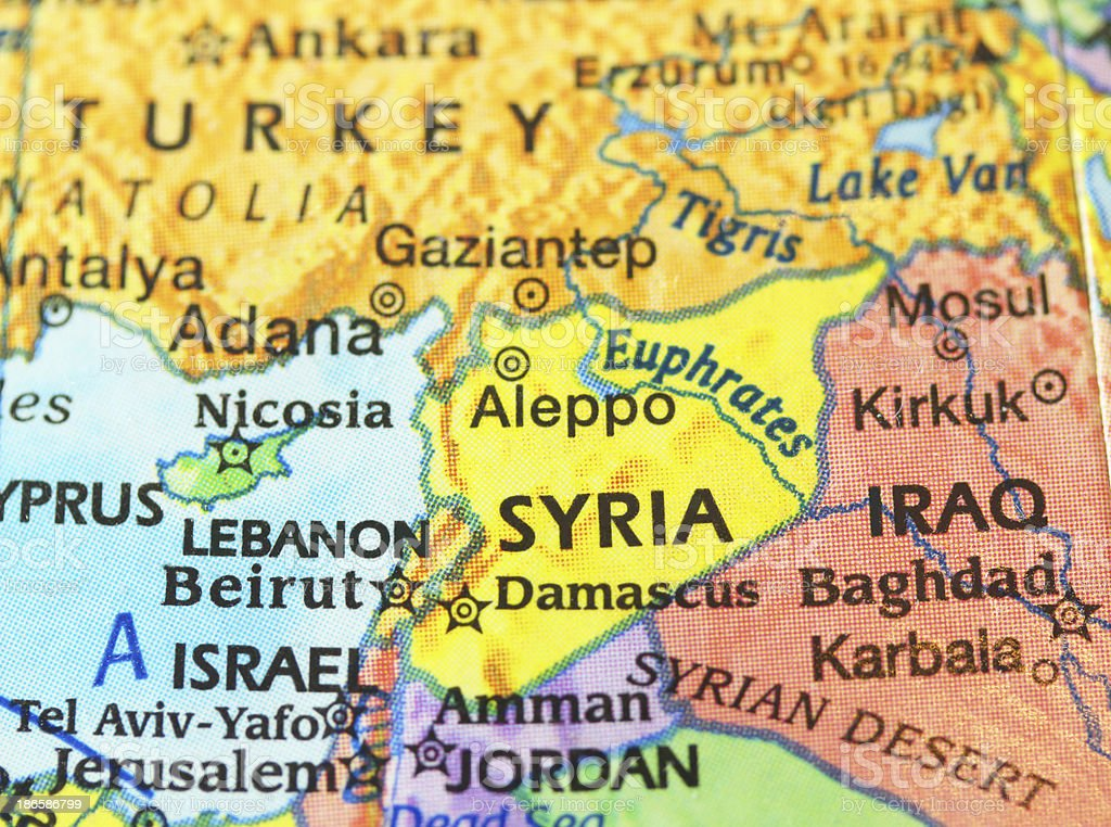 Map of Syria and Neighboring Persian Gulf Nations royalty-free stock photo