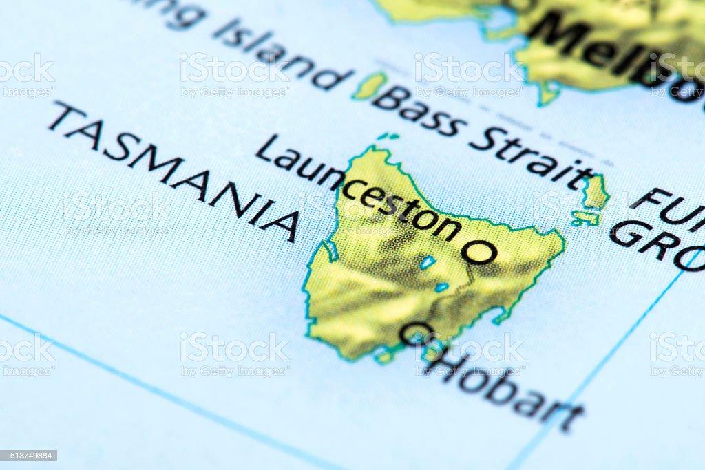 Map of Tasmania, Australia stock photo