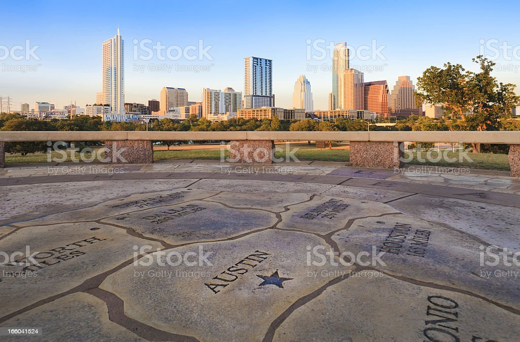 Map of Texas with Austin Skyline in background stock photo