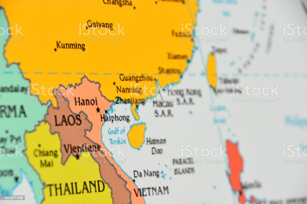 Map of Thailand,Vietnam and Laos stock photo