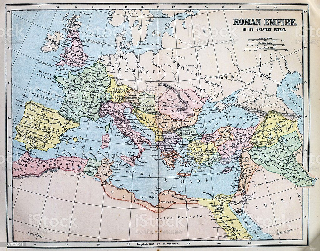 Map of the ancient Roman Empire stock photo